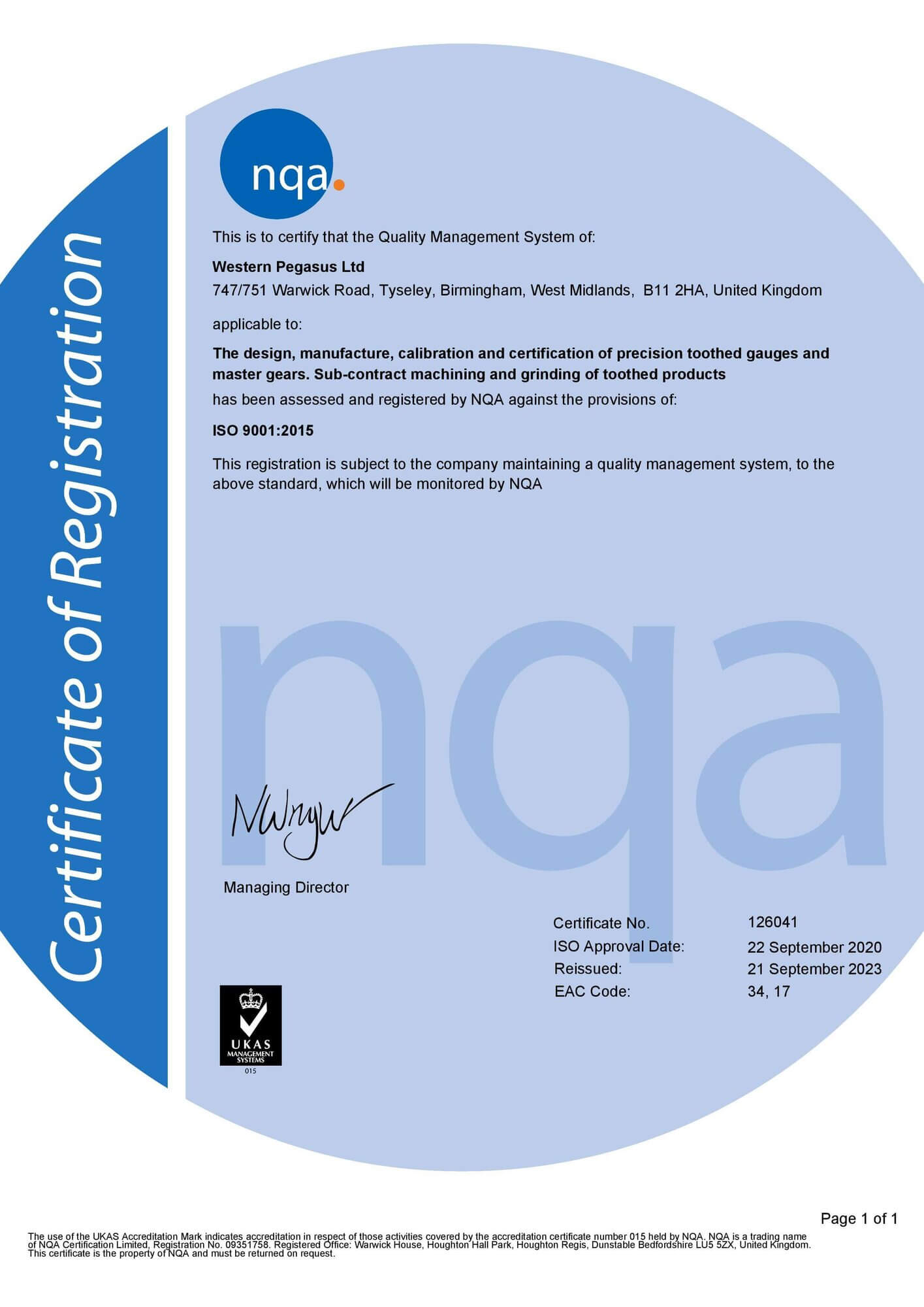 ISO:9001 Approved rsz western pegasus iso 9001 certificate page 00111